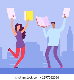 Happy students with books and exellent marks for the tests. Education vector illustration