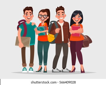 Happy students with books on an isolated background. Vector illustration in cartoon style