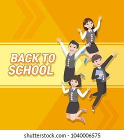Happy students jumping. girl and boy. asian students wearing school uniform.
