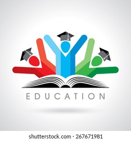 happy students with pencil icon. educational symbol
