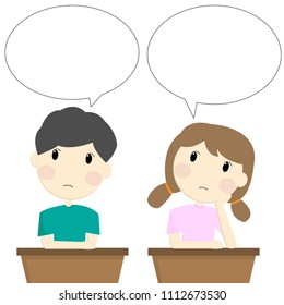 Happy students are talking with speech bubble.Vector illustration character design.