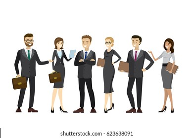 Happy and success business people standing,business team,isolated on white background, vector cartoon illustration