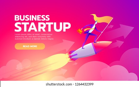 Happy successful businessman holding goal flag standing on rocket ship flying through starry sky. business startup concept
