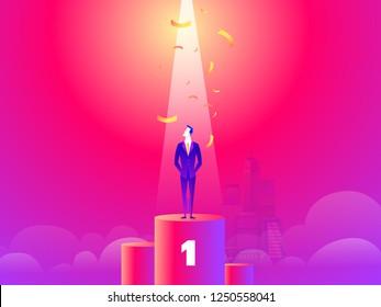 Happy successful businessman standing on pedestal.Success business concept. Trendy flat design. Hand drawn marketing,seo, business Concept.Vector illustration