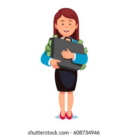 Happy successful executive manager woman standing holding suitcase full of dollar money cash. Business corruption and bribery. Modern flat style vector illustration isolated on white background.