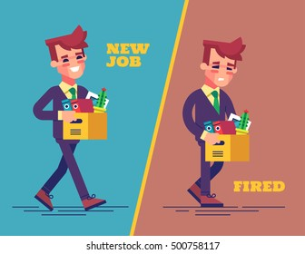 Happy successful young business man holds a box with his things and going into new office. Dismissed frustrated businessman. New job and dismissal concept. Vector set in flat design.