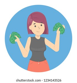 Happy successfull woman holding green money banknotes. Financial well-being. Isolated vector illustration in cartoon style