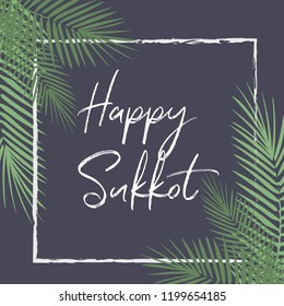 Happy Sukkot Holiday! Hebrew translate: Happy Sukkot Holiday. Jewish traditional four species for Jewish Holiday Rosh Hashanah. Vector Judaica style Vintage Luxury Succot greeting card