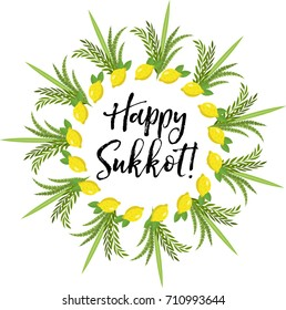 Happy Sukkot round frame of herbs. Jewish holiday huts template for greeting card with etrog, lulav, Arava, Hadas. Isolated on white background. Vector illustration