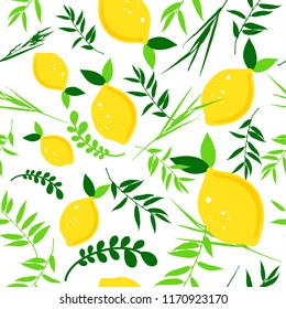 Happy Sukkot seamless pattern. Jewish holiday endless background. Repeating texture with plants.