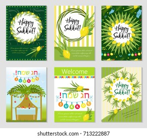 Happy Sukkot set of flyers or posters. Sukkot collection of templates for your design greeting cards and more. Vector illustration