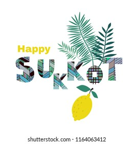 Happy Sukkot- template poster, banner. Jewish Feast of Tabernacles with sukkah, lemon, etrog, lulav, Arava, Hadas. Isolated on white background. Vector illustration.
