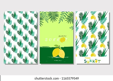 Happy Sukkot- template  set cards. Jewish Feast of Tabernacles with sukkah, lemon, etrog, lulav, Arava, Hadas. Isolated on white background. Vector illustration.