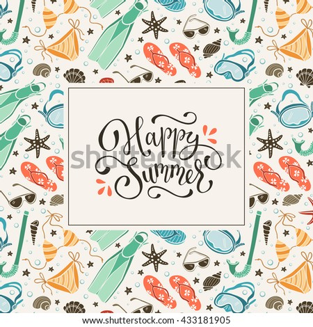 cd723e1b76d Happy Summer Greeting Card Vintage Colors Stock Vector (Royalty Free ...