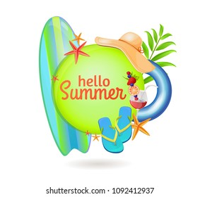 Happy summer holidays, sports at sea, surfing, sports competitions Beach vacation, time to travel. Ready design, logo. Tourism, advertising of tourist agency. Bright, juicy, summer. Ready design, logo