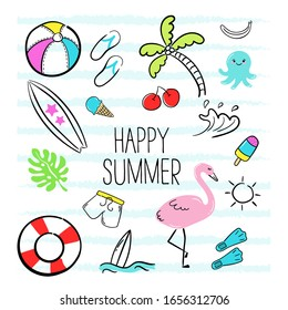 Happy summer. Set of summer doodles on a white background. Vector illustration of colorful funny symbols such as flamingos, ice creams, palm trees, surfboard, slippers, jellyfish, sun, shorts.