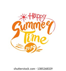Happy Summer Time 2019 vector Logo. Template for the seasonal party. Handwritten font and sun vector yellow pattern.