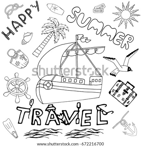 Happy Summer Travel Hand Drawn Set Stock Vector Royalty Free
