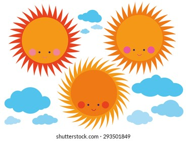 Happy sun and clouds set vector