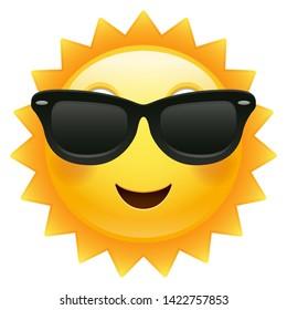 Happy Sun Emoji Sunglasses. Summer Vacations. Illustration Face Vector Design Art.
