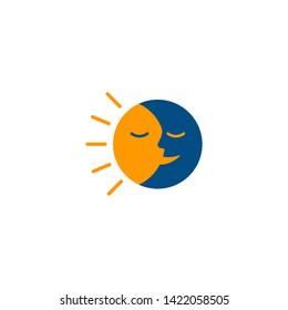 Happy sun and moon logo icon.