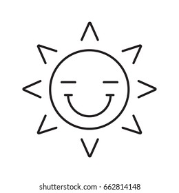 Happy sun smile linear icon. Smiley with closed eyes thin line illustration. Good mood. Emoticon contour symbol. Summertime. Vector isolated outline drawing