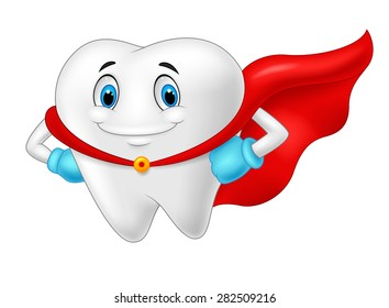 Happy superhero healthy tooth