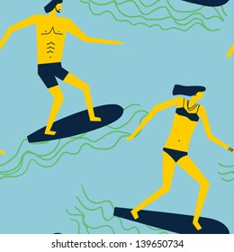 happy surfers gliding over the waves vector seamless pattern