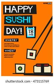 Happy Sushi Day! (Flat Style Vector Illustration Quote Poster Design) Event Invitation Design