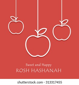 Happy and sweet Rosh Hashanah holiday card with hanging apples. Vector illustration.