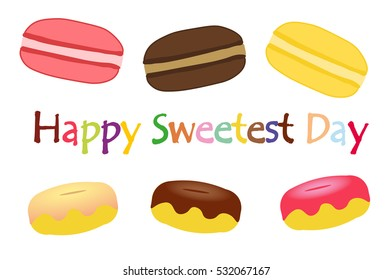 Happy sweetest day, october, donuts and macrons