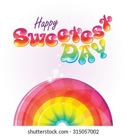 Happy Sweetest Day retro style vector illustration with colorful lollipop candy and sweet tasty lettering. American holiday celebration of sweets to increase candy sales