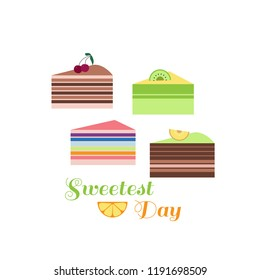 Happy sweetest  day- template poster, card. Beautiful  chocolate  birthday cake in cartoon style. Vector illustration.