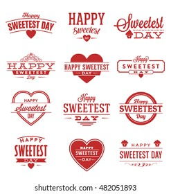 Happy Sweetest Day Typographic Vector Design Collection - A set of twelve red colored vintage style Designs