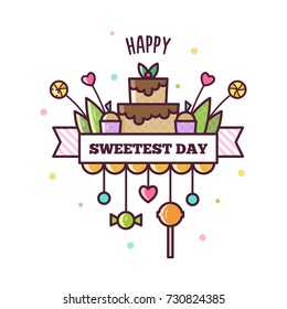 Happy Sweetest Day. Vector illustraton.