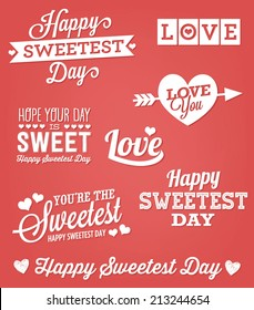 Happy Sweetest Day Vector Set | Love, You're the Sweetest, Love You, Hope Your Day is Sweet