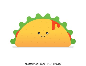 Happy Taco Character Vector Illustration. Traditional Taco Design Isolated on White