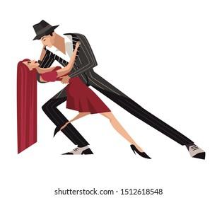 happy tango dancers romantic couple