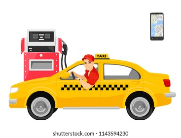 Happy taxi driver sitting in his car next to gas station