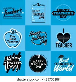 Happy Teacher Day badges. Thank you signs for teacher appreciation. Vector symbols elements.
