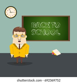 Happy teacher in front blackboard. Back to school illustration.