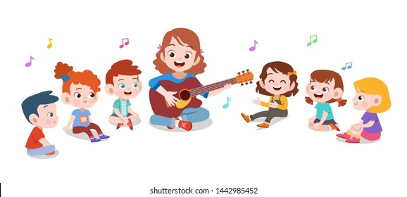 happy teacher school kid vector illustration