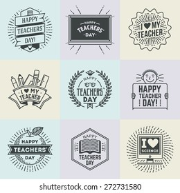 Happy Teachers` Day assorted design insignias logotypes set 1. Thank you signs for teacher appreciation. Vector symbols elements. Thank you notes for teacher.
