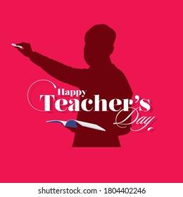 Happy Teacher's Day Banner - Illustration of Teacher
