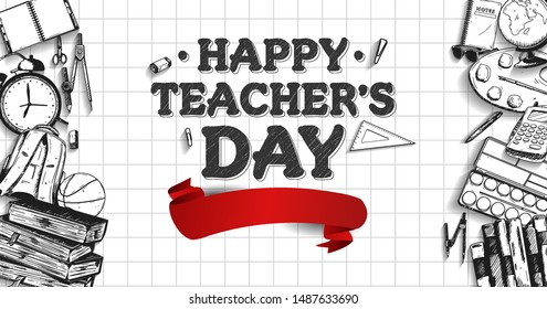 happy teachers day banner with school equipment. vector illustration