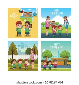 happy teachers day card with students and teacher scene vector illustration design