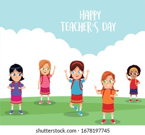 happy teachers day card with students in the field vector illustration design