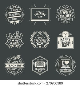 Happy Teachers` Day design insignias logotypes set 1. Thank you signs for teacher appreciation. Vector symbols elements. Thank you notes for teacher.