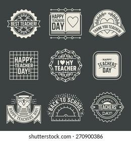 Happy Teachers` Day design insignias logotypes set 2. Thank you signs for teacher appreciation. Vector symbols elements.
