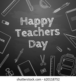 Happy Teachers Day Freehand drawing school items Science theme Hand drawing set of school supplies Sketch Doodle vector illustration.